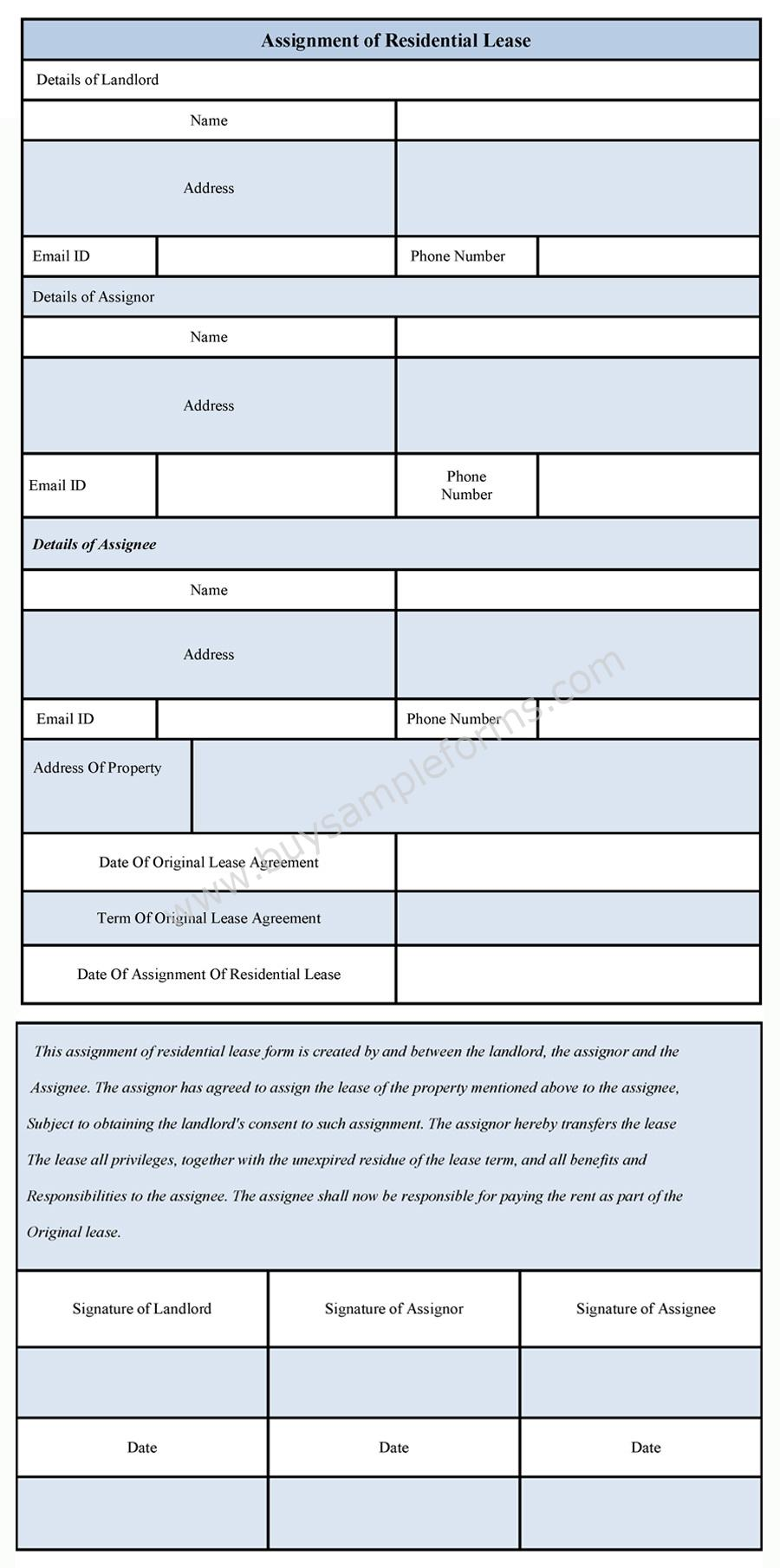 assignment of lease Need a free lease assignment form so you can have a new tenant to take over your lease then click here for our free assignment of lease agreement.