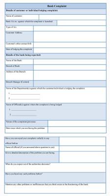 Bank Complaint Form sample