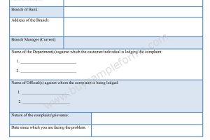 Bank Complaint Form