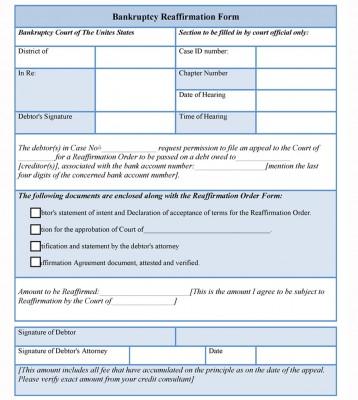 Sample Bankruptcy Reaffirmation Form