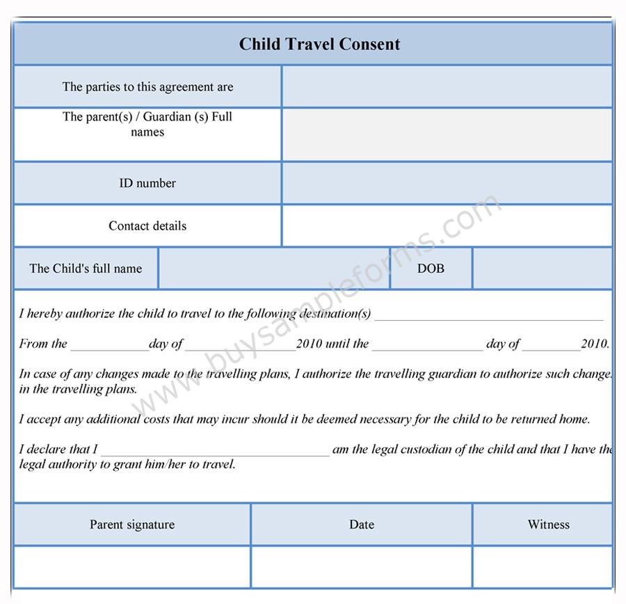 Child Travel Consent Form  Consent Form Template