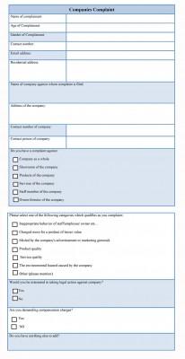 companies complaint form template
