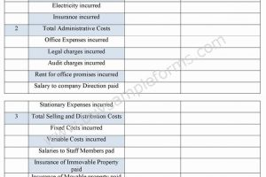 Cost Accounting Form