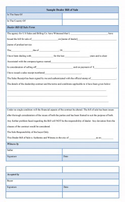 Dealer Bill of Sale Form