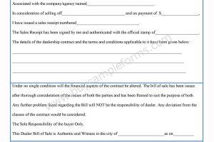 Dealer Bill of Sale Form