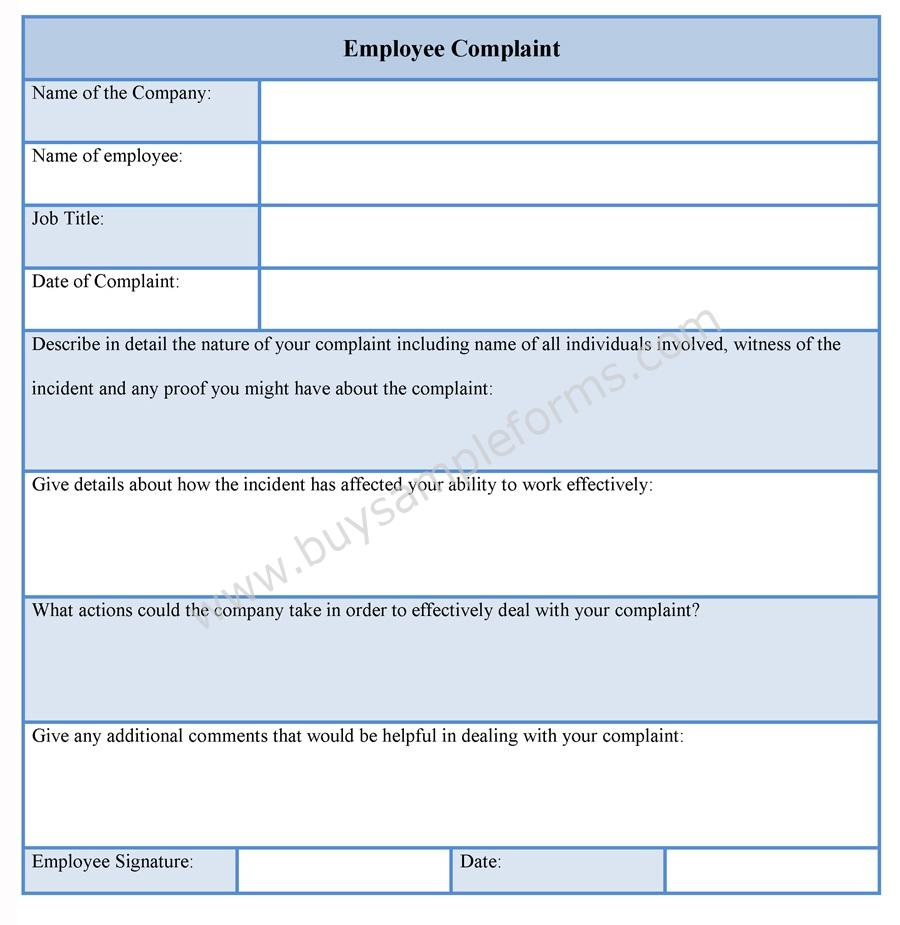 Employee complaint form employee complaint template employee complaint form template thecheapjerseys Image collections