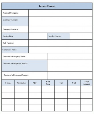 Invoice Template Form