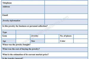 Jewelry Appraisal Form
