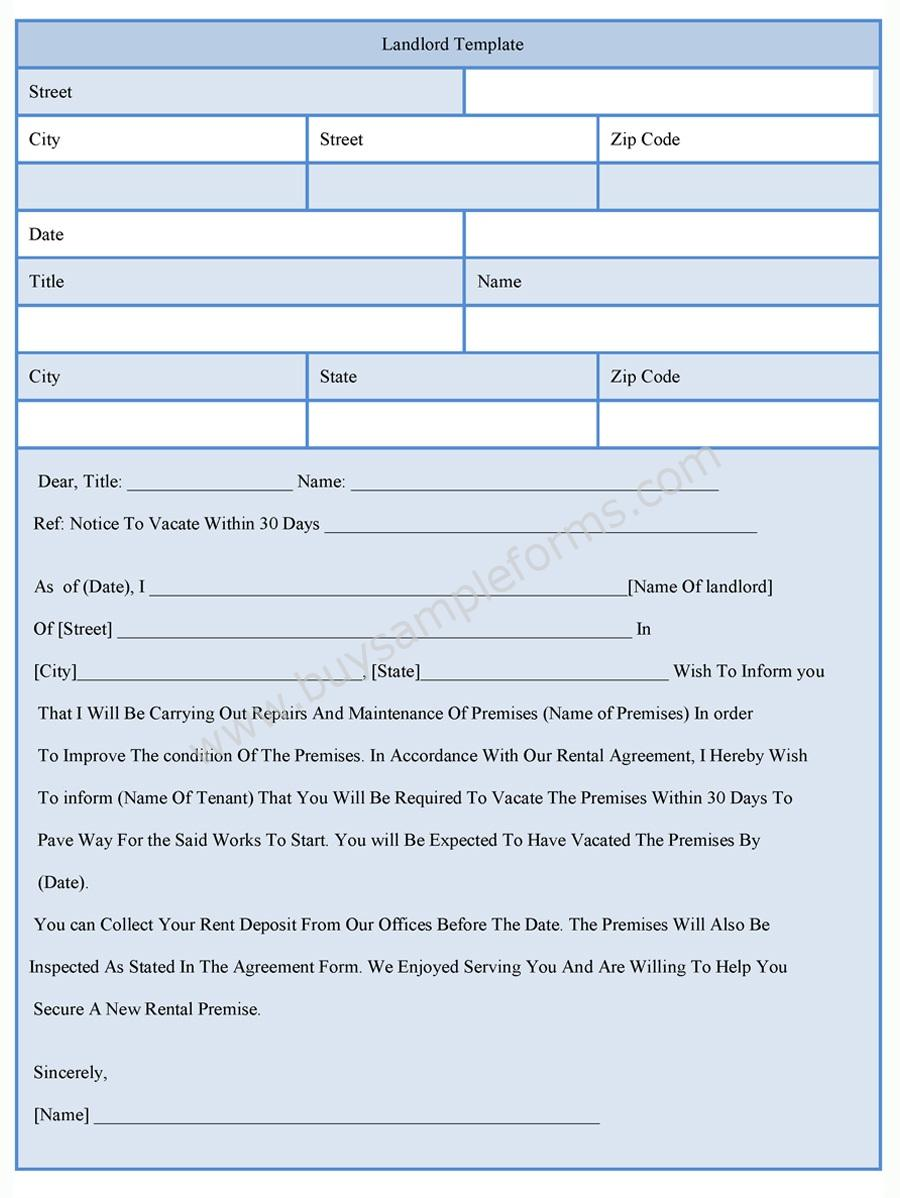 Landlord template form for Landlords contract template