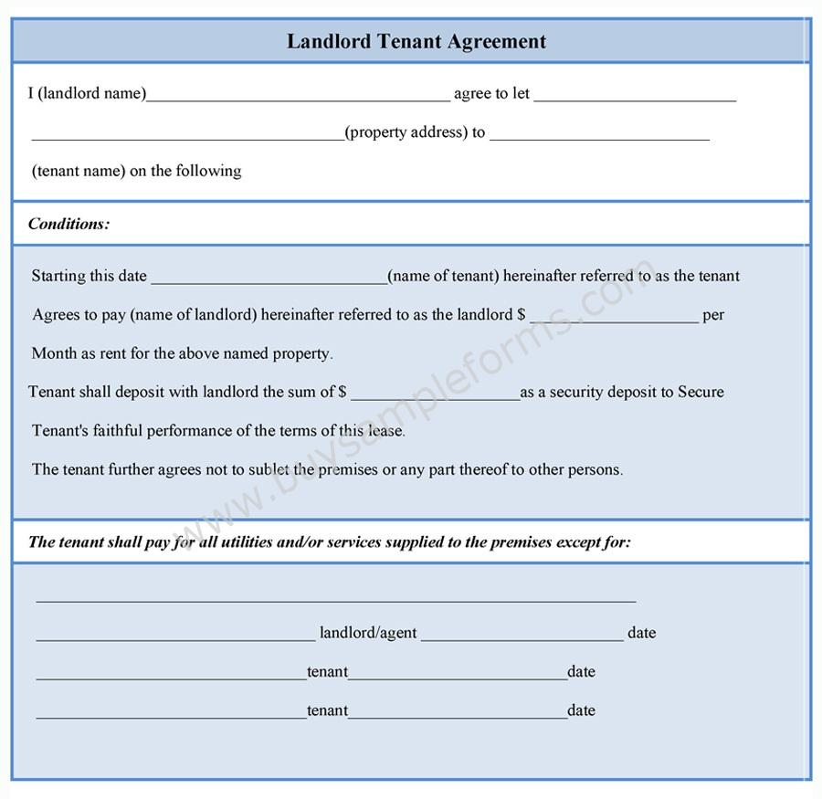Landlord Tenant Agreement Form | Sample Forms