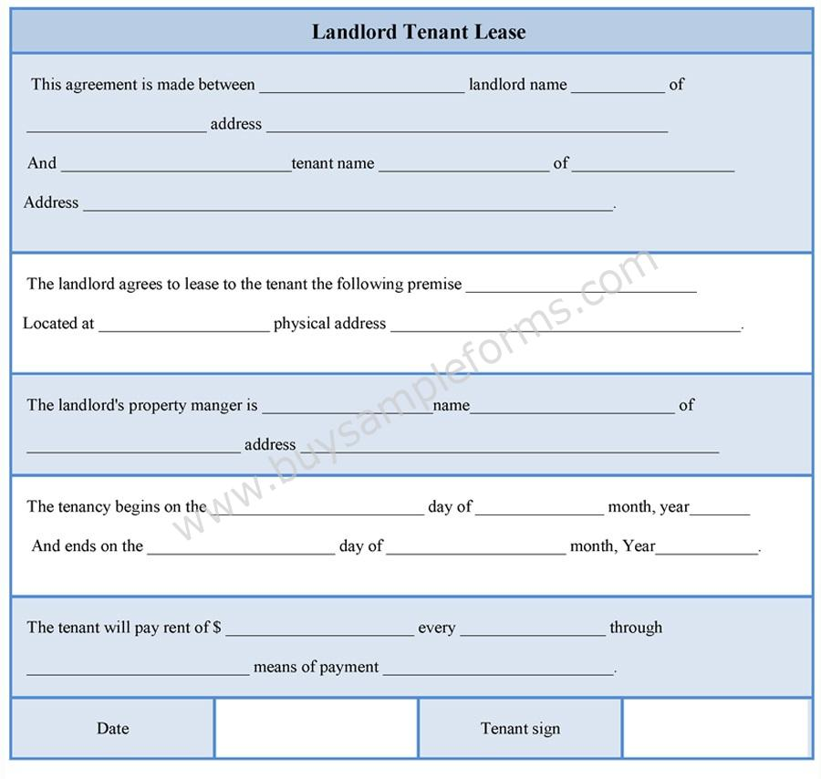 Landlord Tenant Lease Form  Buy Sample Forms Online