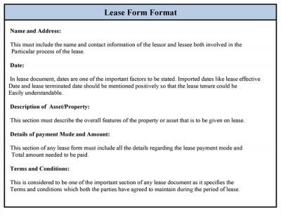 Sample Lease Form Format