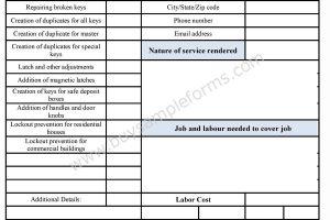 Locksmith Business Estimate Form