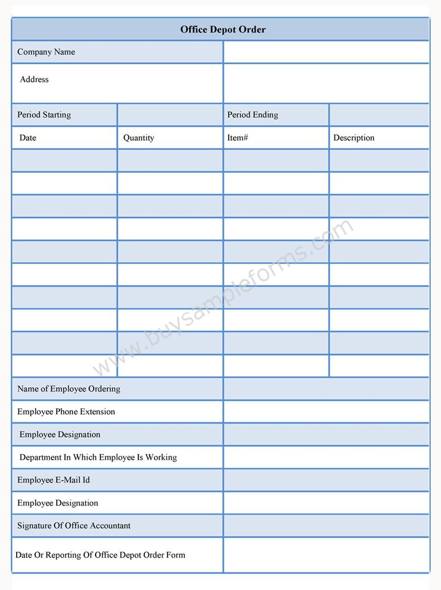 Office Depot Order Form | Buy Sample Forms Online
