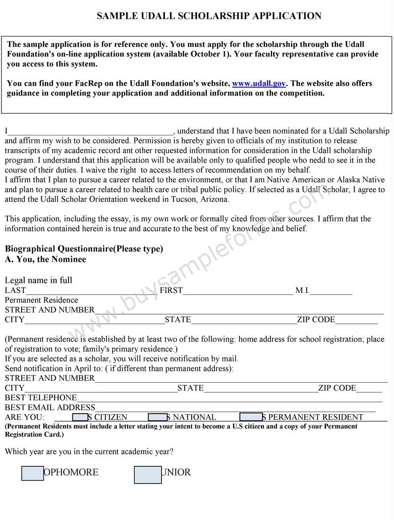 Scholarship application format for Scholarship forms template