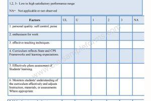 Teacher Appraisal Form