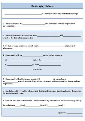 bankruptcy release form sample