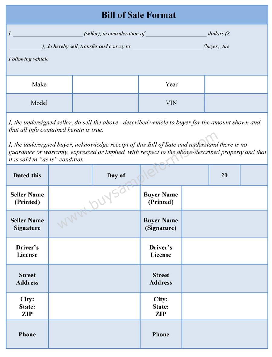 Download Easy to Edit Bill of Sale Form Format at only $3.00