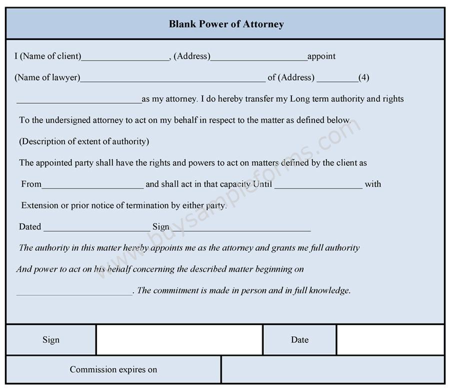 blank power of attorney form power of attorney template. Black Bedroom Furniture Sets. Home Design Ideas