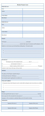 Business Property Lease Form