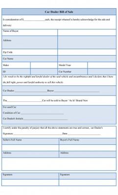 Car Dealer Bill of Sale Form