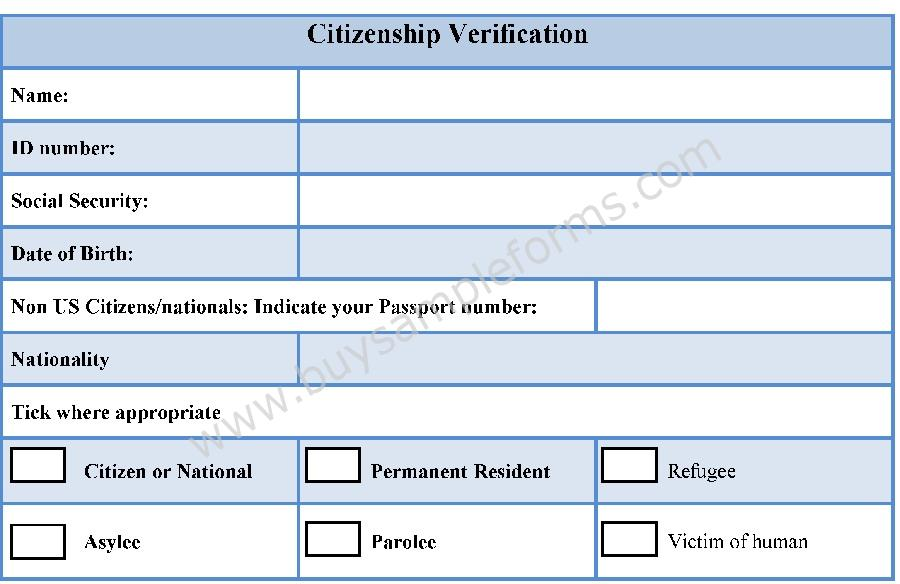 Citizenship Verification Form  Buy Sample Forms Online