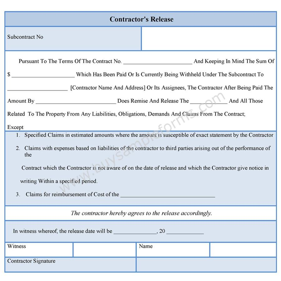 Contractor Liability Release Form Template  Liability Contract Template
