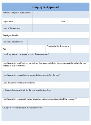 Employee Appraisal Form format