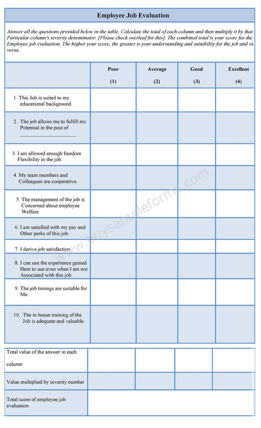 Employee Job Evaluation Form – Sample Employee Evaluation Forms