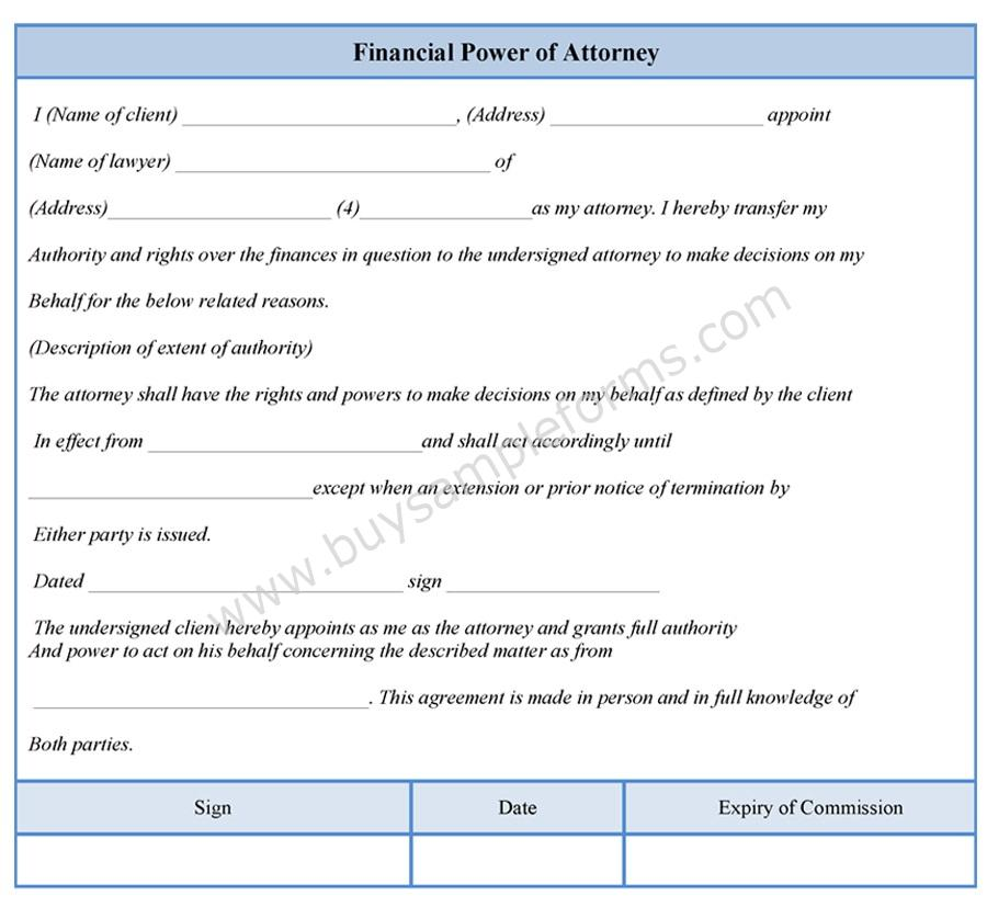 Financial Power Of Attorney Form  Buy Sample Forms Online
