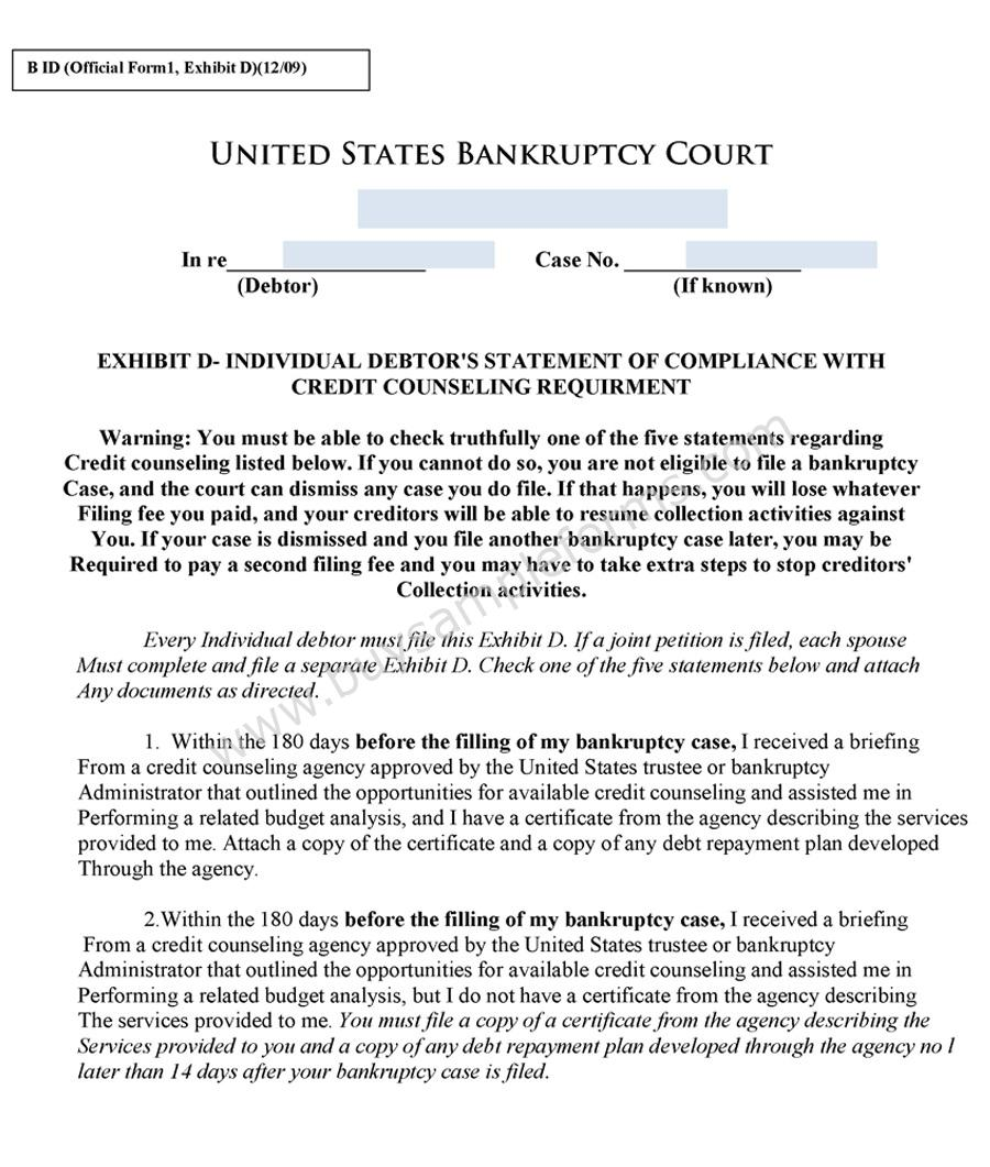 Free Bankruptcy Form | Online Bankruptcy Forms | Sample Forms