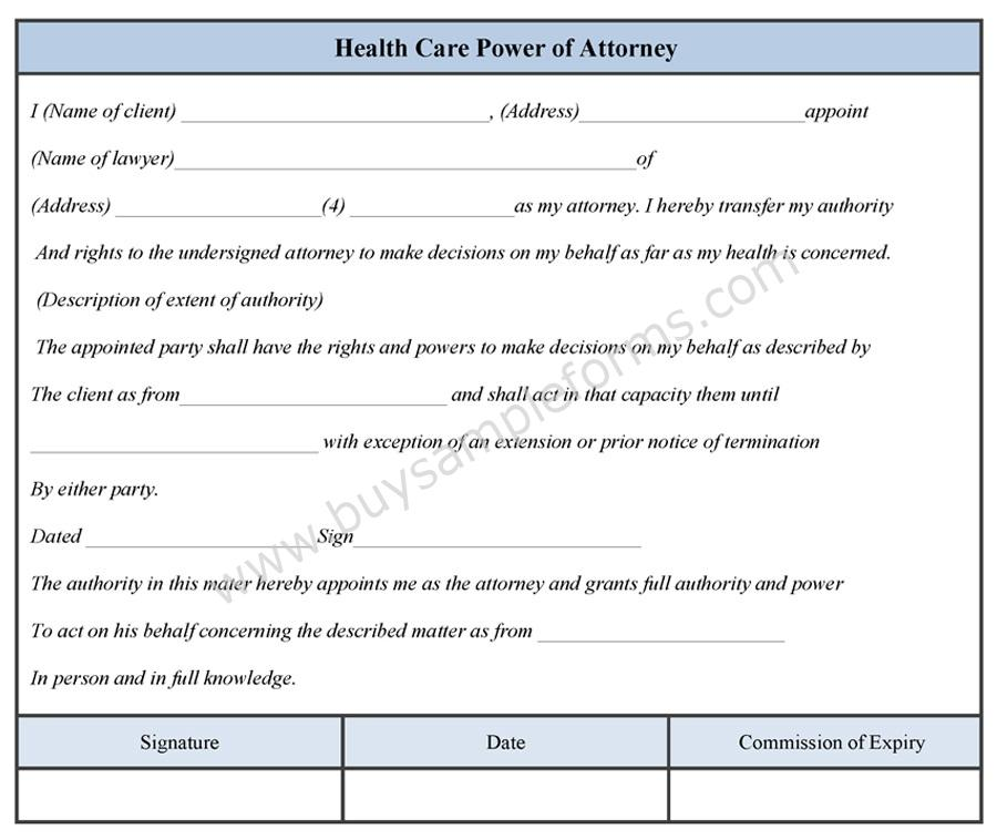 Health Care Power Of Attorney Form  Buy Sample Forms Online