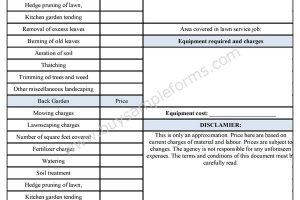 Lawn Service Business Estimate Form