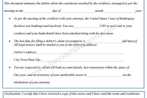 Notice of Bankruptcy Form