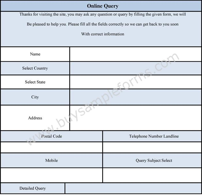 Online Query Form Online Enquiry Form Template Sample