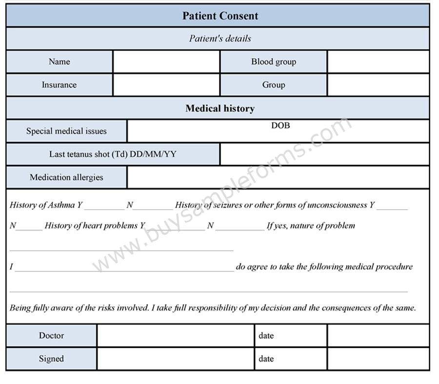 Patient Consent Form  Patient Consent Form Template  Buy Sample
