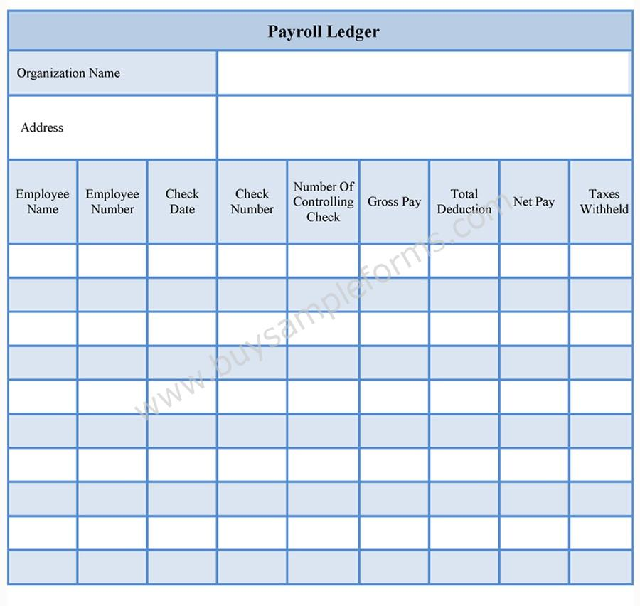 Payroll Ledger Forms  Free Printable Payroll Forms
