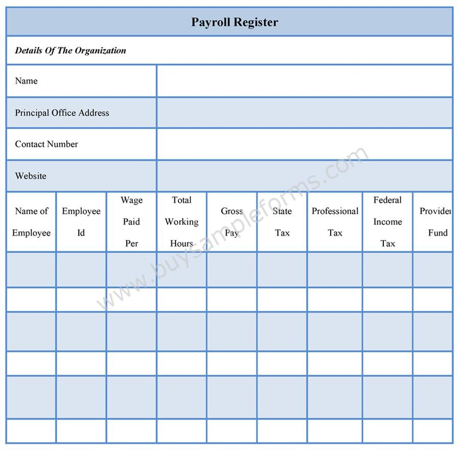 Payroll Register Forms | Payroll Register Template | Sample Forms