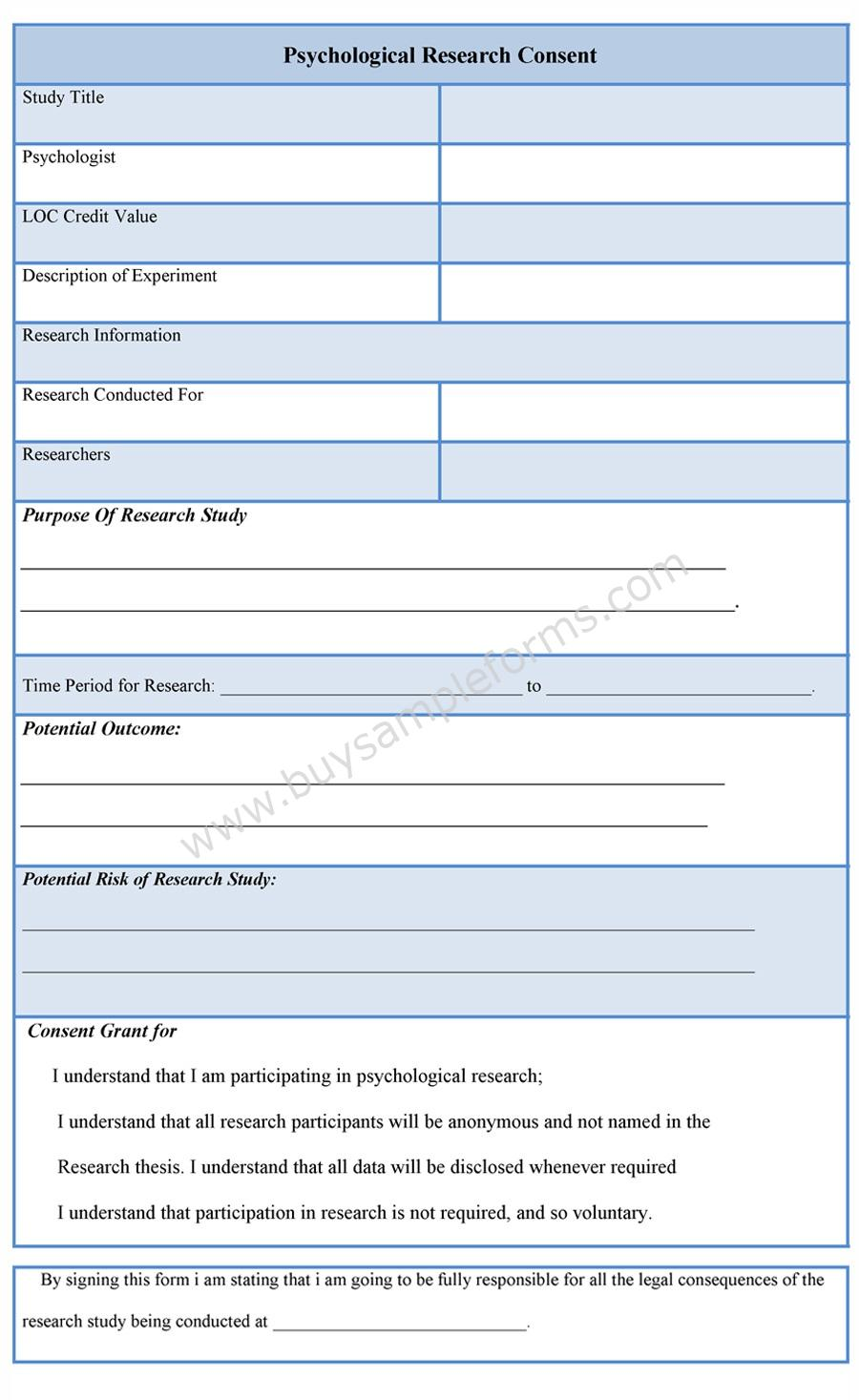 Psychological Research Consent Form – Research Consent Form Template