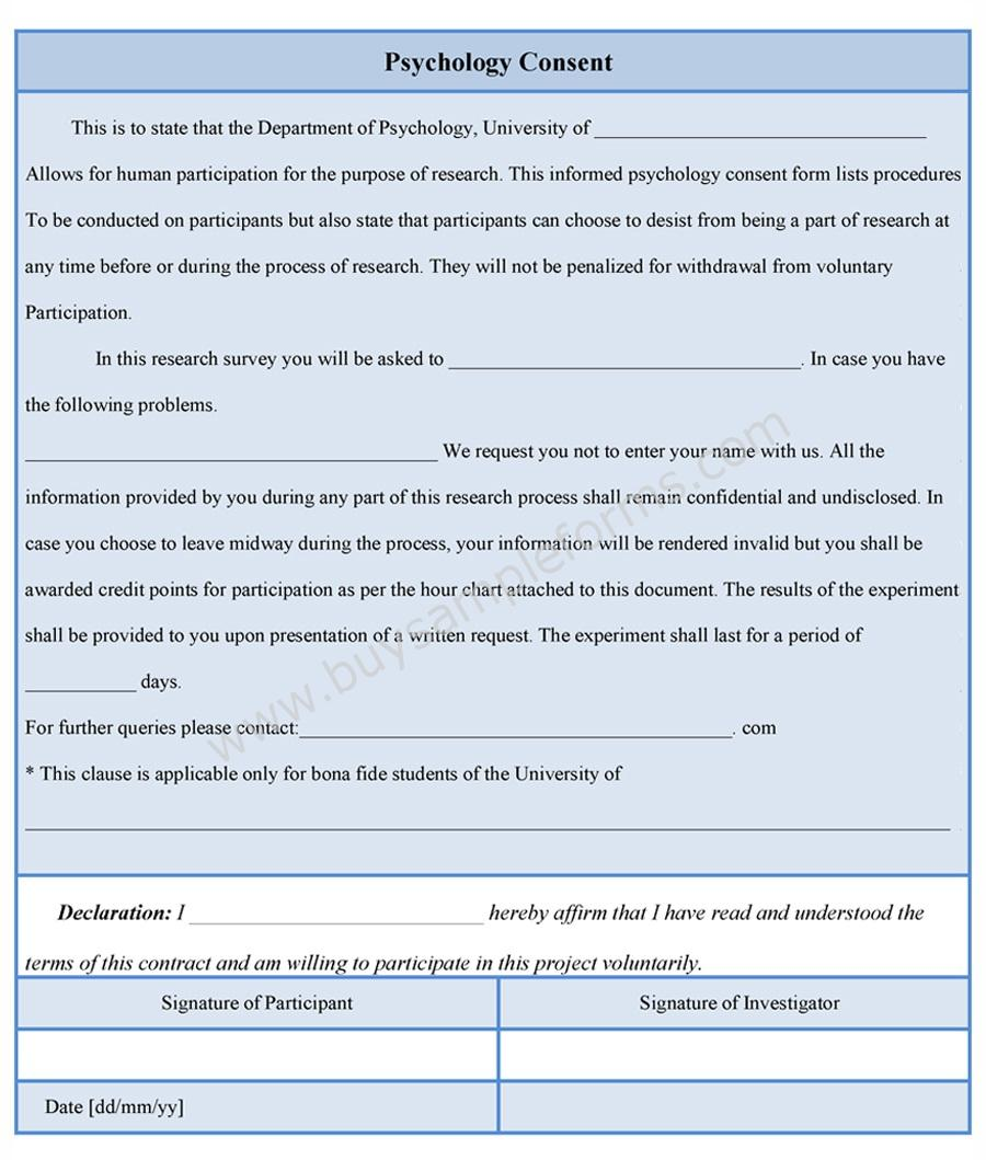 Psychology Consent Form – Survey Consent Form