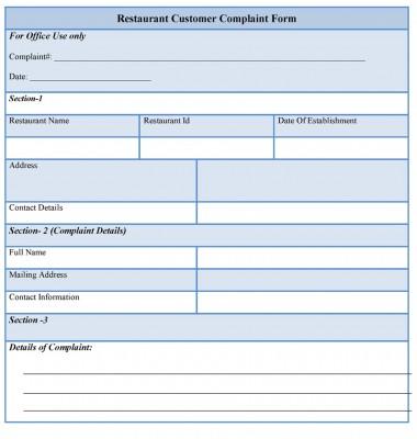 Restaurant Customer Complaint Form