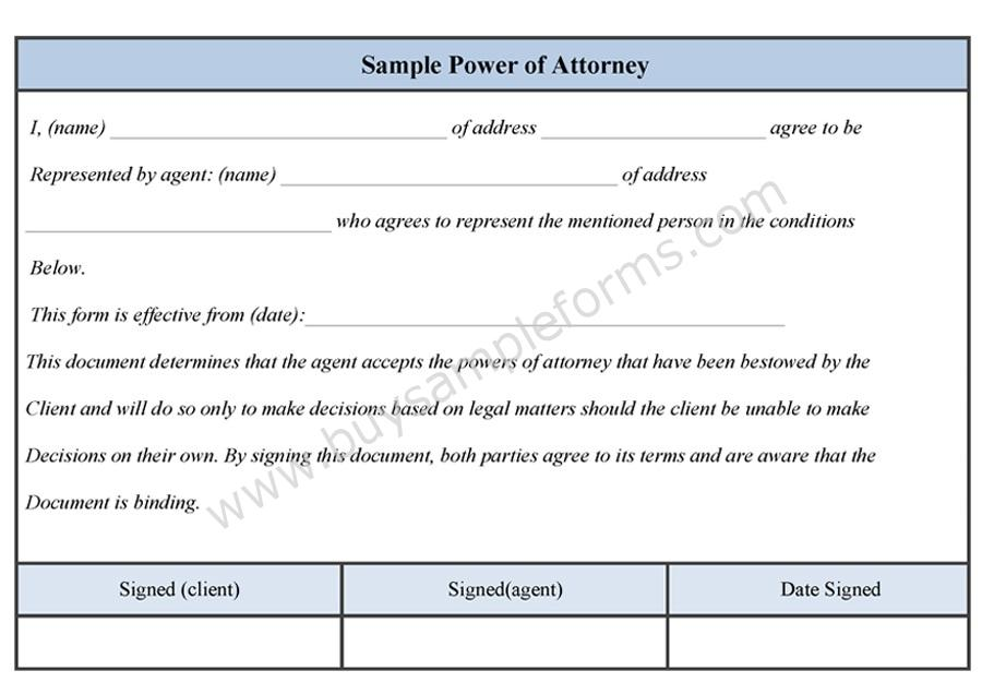 sample power of attorney template .