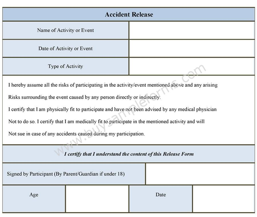 Accident Release Form Liability Release Form Template Sample