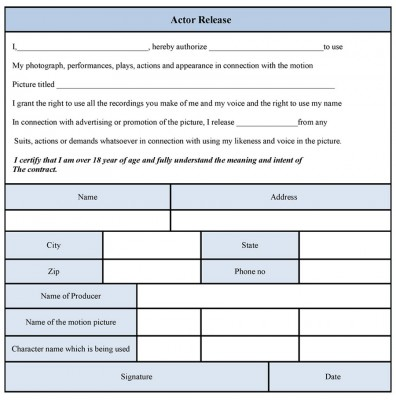 Actor Release Form template