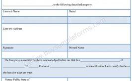 Builder Lien Release Form