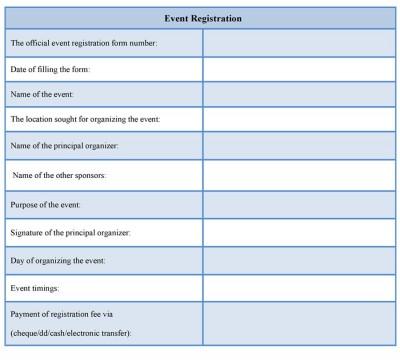 event registration form sample