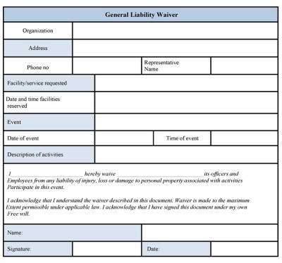 Doc7201024 Generic Liability Waiver and Release Form – Simple Liability Waiver