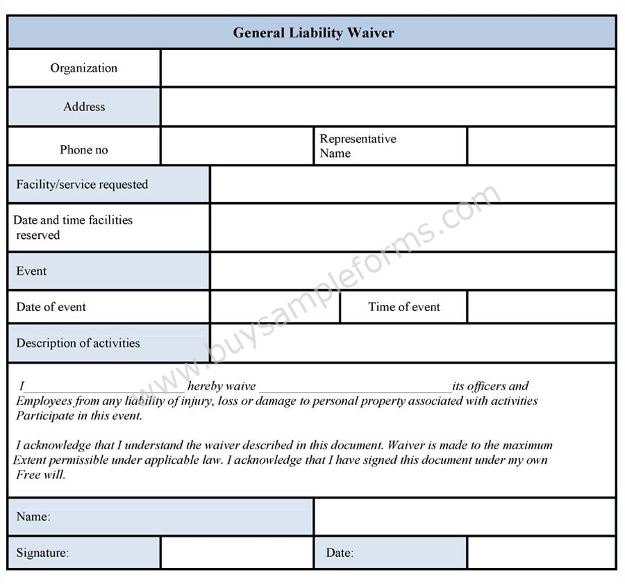 General liability waiver form for Property damage waiver template