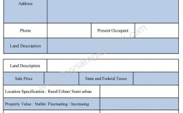 Sample Land Appraisal Report Form