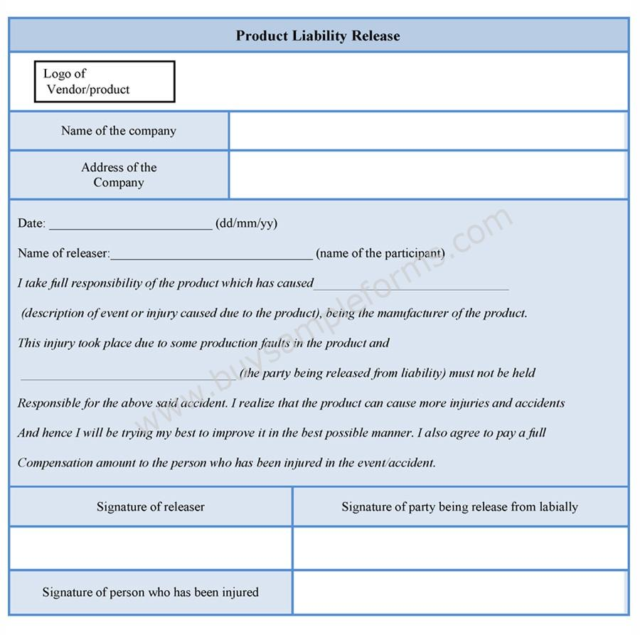 Product liability release form for Release from liability form template